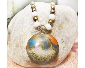 Golden Waves Pendant Necklace, Polymer Clay Swirly Bead with Gold Flecks, Gold and White Beads, Square Golden Tone Chain, 20""