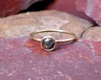 0.31 cts Raw Dark Grey Rose Cut Petite Rustic Diamond Ring 14k Yellow Gold US Size 5.25 Engagement READY to SHIP