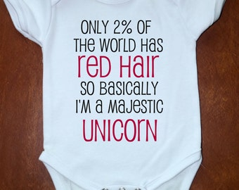 Baby Red Head Ginger Onesies Choose 1 - Newborn to 18 Months