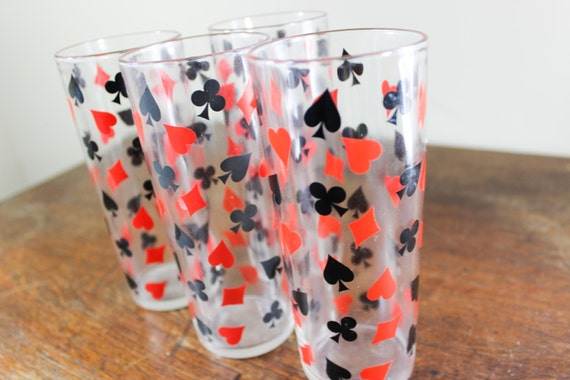 Set Of 4 Tumbler Drinking Glasses Card Suit Tumblers Hearts