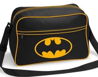 Batman Superhero Retro Shoulder School Bag Black With a Gold Coloured Print