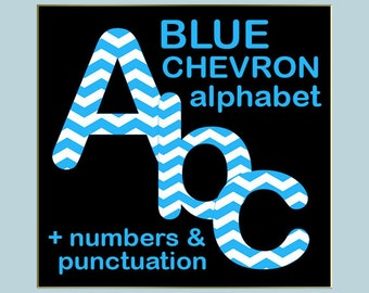 Blue chevron digital alphabet clipart, printable chevron font, large and small letters, numbers and punctuation marks; for commercial use