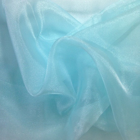 Aqua crystal sheer organza fabric for fashion crafts for Sheer fabric