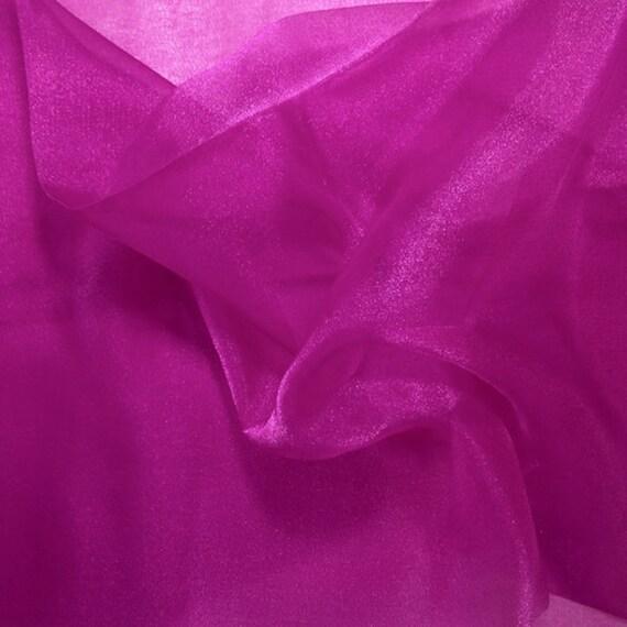 Magenta crystal sheer organza fabric for fashion crafts for Sheer fabric
