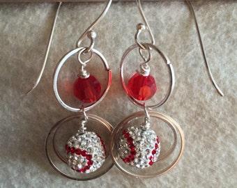 Baseball Red And White Swarovski Crystal 6mm Red Swarovski Crystal Earrings