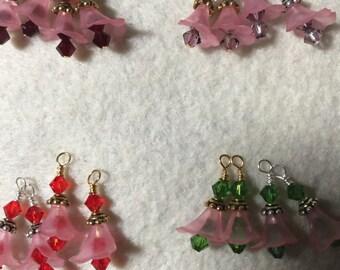 Birthstone Flower Lucite Earrings