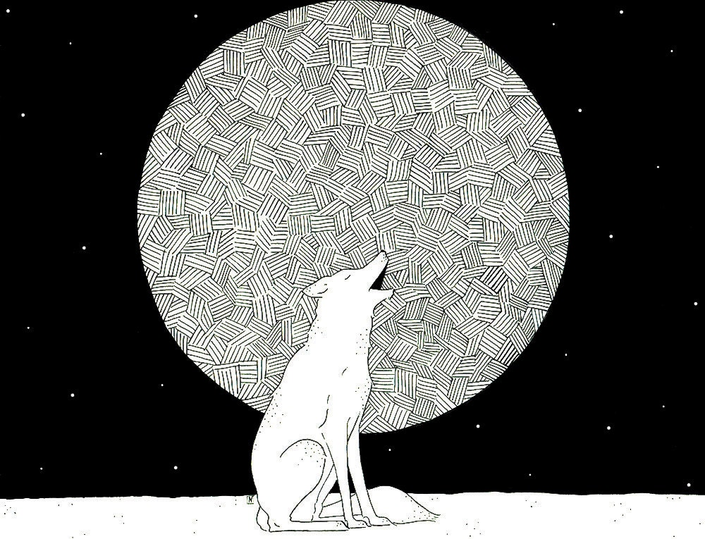 howl at the moon little wolf 8 5 x 11 giclee print art. Black Bedroom Furniture Sets. Home Design Ideas