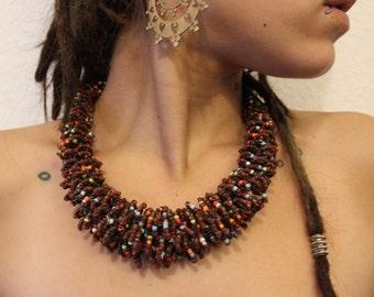 Statement Boho Tribal Multicoloured Bead Necklace Choker Collar