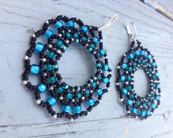 Blue and black bead woven hoop earrings