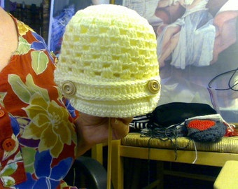 Crochet Baby Newsboy Style Lacy Hat