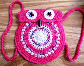 Round Owl Backpack for Toddlers Crocheted Owl Backpack