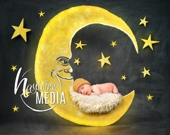 Newborn, Baby, Toddler, Child, Moon Photography Digital Backdrop Prop for Photographers with Star Background