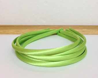 Lime Green Satin Covered Headband set of Five-Five Lime Green Satin Headbands-Lime Green Satin Covered Hard Headband set of 5