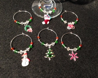 Set of 6 Christmas wine glass charms