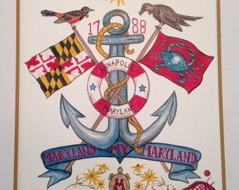 Maryland Print includes Maryland Flag, Crabs,  Terps, Orioles, Ravens and Lacrosse sticks.  Perfect for the Proud Marylander