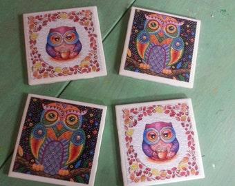 Colorful owl woodland.animals theme logos ceramic coasters set of 4