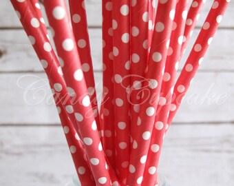 RED WHITE MINI Polka Dot/Spot Paper Straws, 25 Red Paper Straws With White Polka Dots