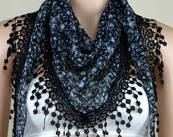 Black chiffon scarf, pure and fresh and small broken flower scarf, lace tassels triangle scarf, shawl