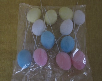 "12 Flocked Easter eggs on wire, 2""-2 1/2"",pink,blue,white,yellow,craft"
