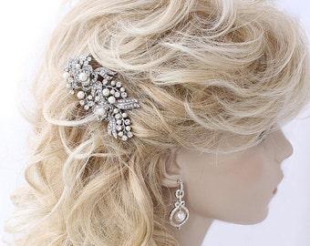 Bridal Hair Clip, Vintage Rhinestone Bridal Comb, Crystal Pearl Hair Piece, Rhinestone Wedding Headpiece, Bride Hair Accessories