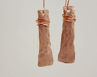 Wire-wrapped Hammered Copper Earrings