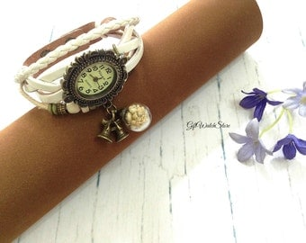 Retro Leather Watches, Leather Wrap Watch, Leather Bracelet Watch, Wrist Leather Watch, Vintage Leather Watch With Glass Orb Charm, white