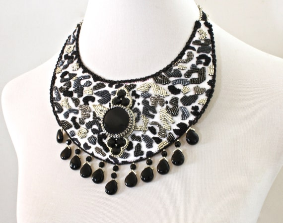animal print necklace leopard print fringe necklace by