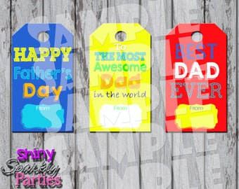 "Printable ""FATHER'S DAY GIFT Tags"" - Colorful Father's Day Tags - Father's Day Printables - Diy Father's Day Gift Tags - Instant Download"
