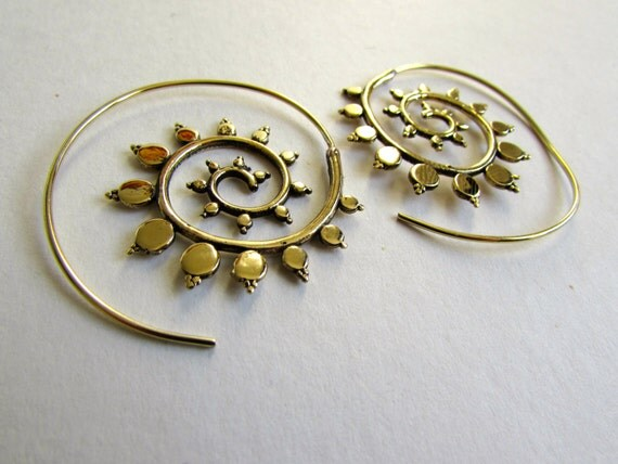 Spiral Brass Earrings handmade, Tribal Earrings, Nickel Free, Indian Jewellery, Gift boxed,Free UK postage BG9