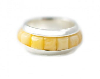 """Silver ring with amber """"Perfect Circle""""   Ring Size 9.5 US"""
