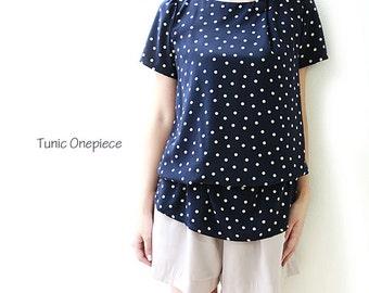 One button tunic dress, dot style,2 way dress,JP-0879-dot