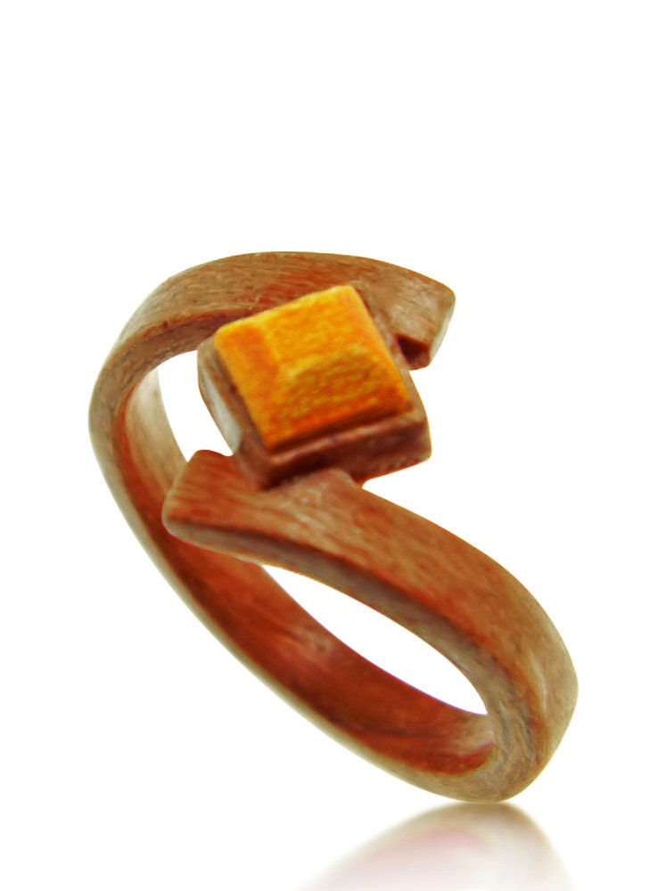 hand carved wooden amber ring wood ring by saxonwoodjewels