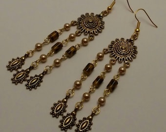 Beaded Brown and Gold Antique Chandelier Earrings