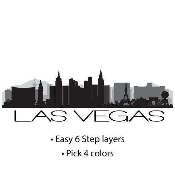 Las Vegas Skyline Custom Multicolored Vinyl Wall Graphic - Custom vinyl decals las vegas