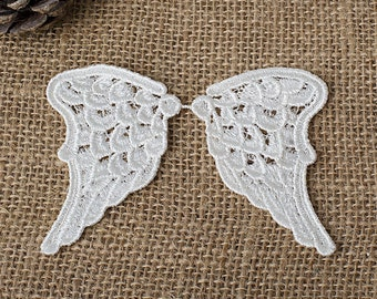 One pair (two pieces) White Embroidery Angel Wing Lace Appliques, White lace applique F0055
