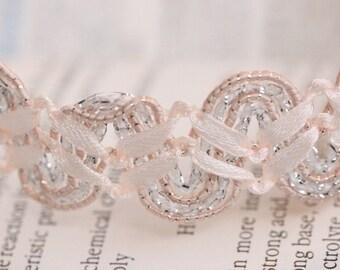 Light pink Raised Gimp Trim, Braided trim, 0.87inch 2.2cm wide ribbon trim for Headbands, Bridal, Straps, Crafting MM020