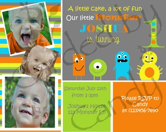 Little Monsters 1st Birthday Party Invitation