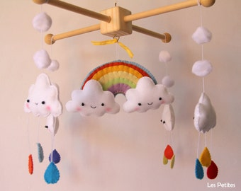 Baby Crib Mobile - Baby Mobile - Rainbow and clouds baby crib mobile - Felt mobile - Nursery Crib Mobile-Clouds Baby Mobile