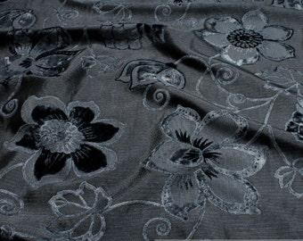 Fabric denim anthracite velvet blossom upholstery furniture cover 15.000 Martindale