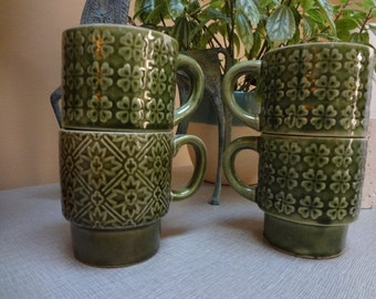 Set of 4 Green Stacking Coffee Mugs, Made in Japan, Retro Cool 70's!
