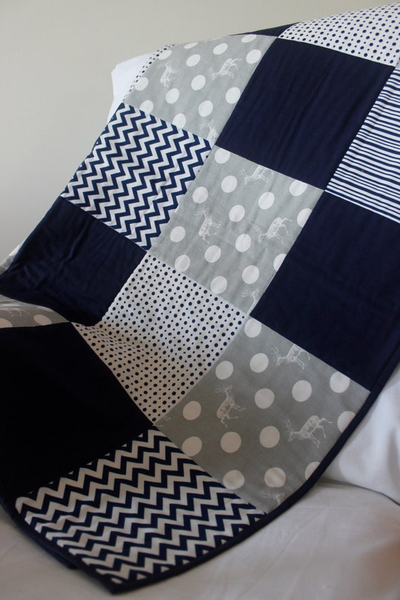 Modern Baby Boy Quilt Grey And Navy With Elk Print Spots