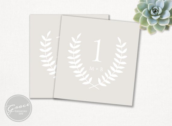 table numbers for wedding reception templates - taupe laurel table number template rustic elegant printable