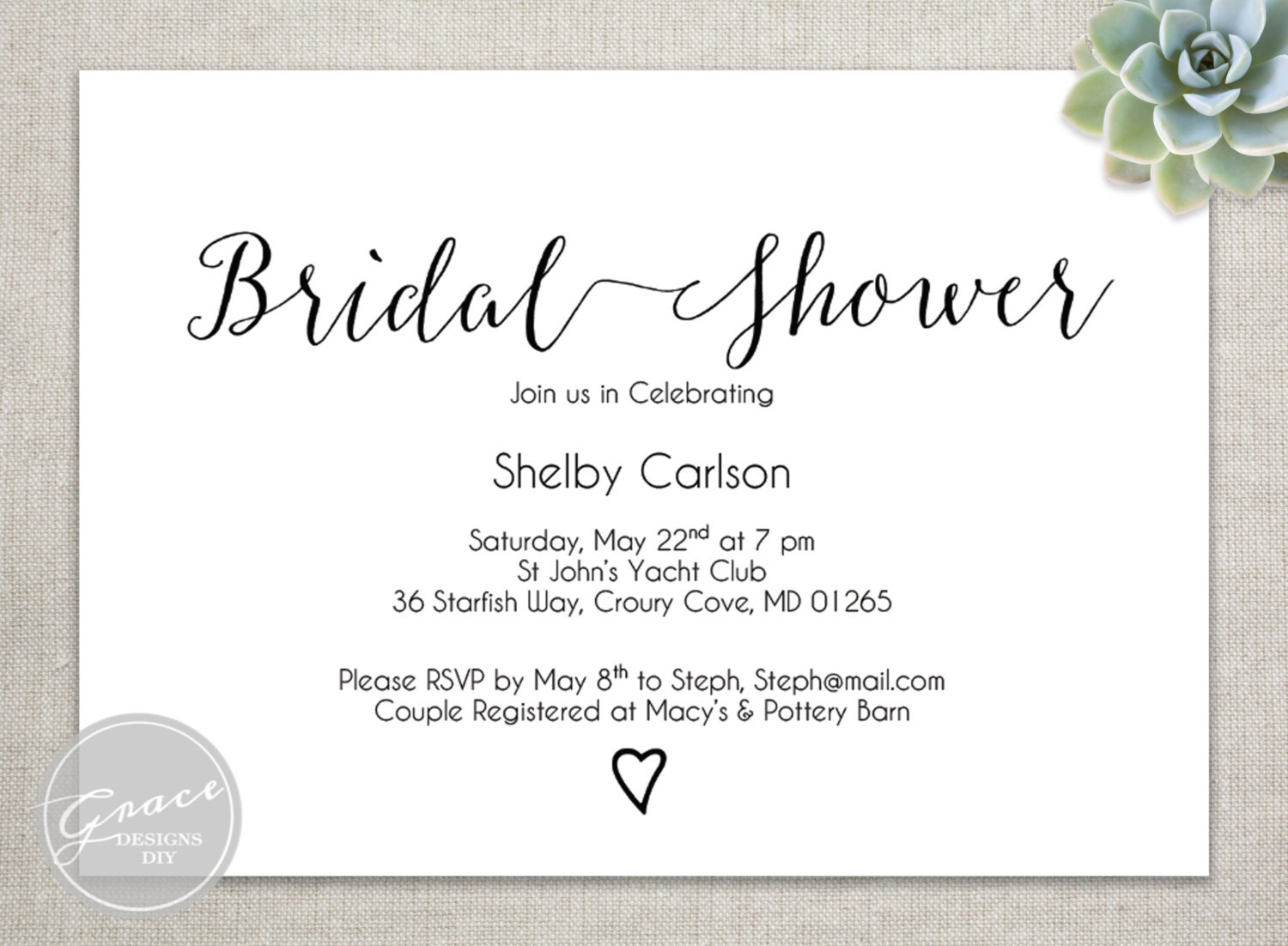 Handwritten Bridal Shower Invitations as good invitations example