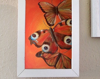 Poster - photo printing, butterfly, water, orange, yellow