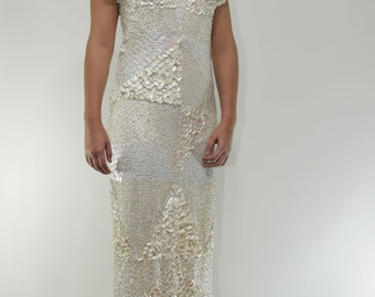 Stunning Beaded Sequin Vintage Couture Wedding Dress