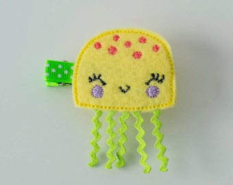 SALE yellow jellyfish embroidered felt hair clip