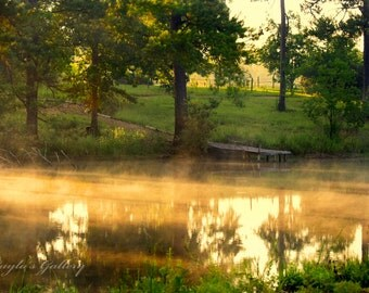 Morning Fog, Landscape Photography, Country Landscape, Pond Photography, Nature Photography,Dock Photos, Lake Dock Photos