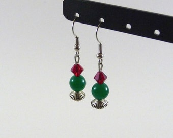 Diadem - Green and red silver dangling earrings