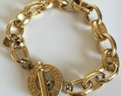 Vintage Givenchy Paris Gold Plated Chain Link Bracelet With Toggle Clasp