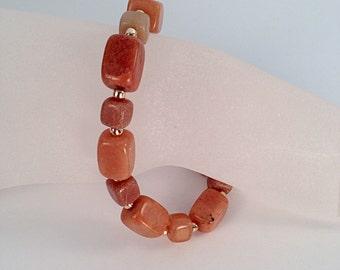 Orange bracelet, Redish Orange adventurine gemstone, gold tone